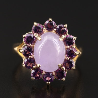 14K Gold Jadeite and Amethyst Halo Ring