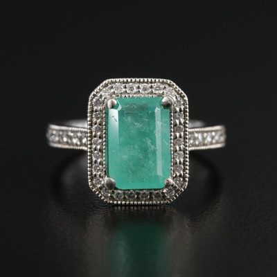 Veronese 18K Gold 1.52 CT Emerald and Diamond Ring