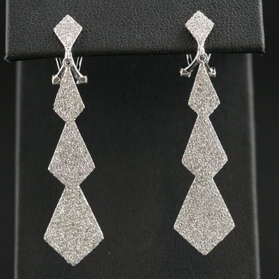 14K Gold 1.55 CTW Diamond Dangle Earrings Featuring Geometric Motif