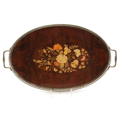 Wood Marquetry Tray with Brass Surround