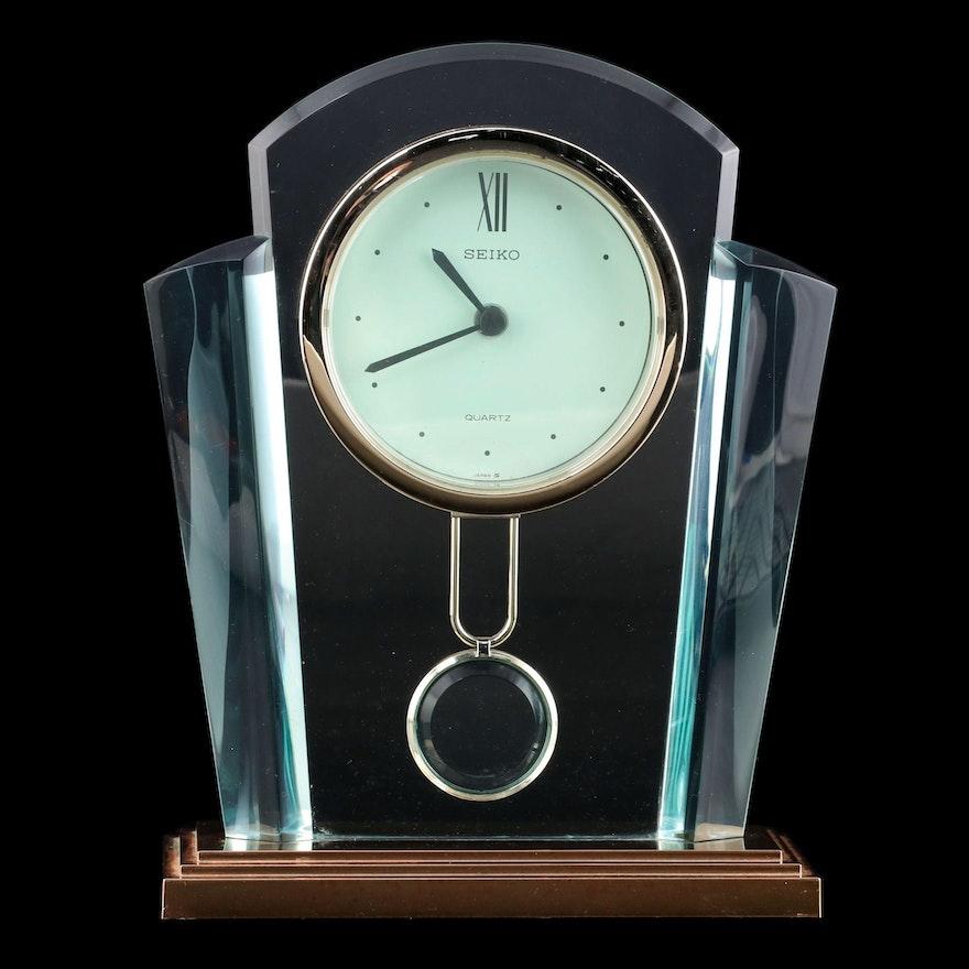 Seiko Art Deco Style Acrylic Desk Clock