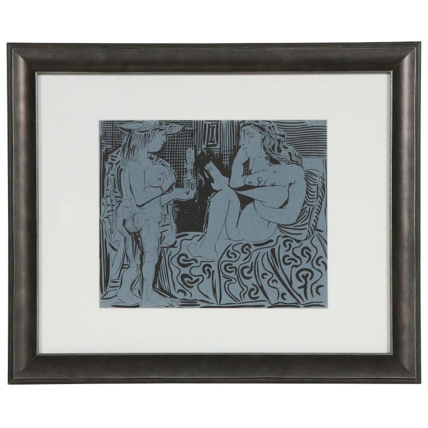 """Linoleum Cut after Pablo Picasso """"Two Women"""""""