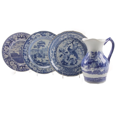 Blue and White Transferware Plates and Reproduction Victoria Ware Jug