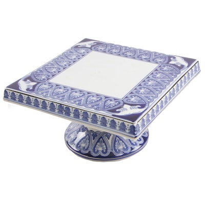 Bombay Company Blue and White Porcelain Cake Stand
