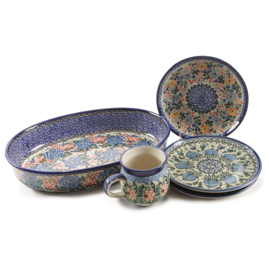 Unikat Polish Hand-Painted Stoneware Plates and Cookware