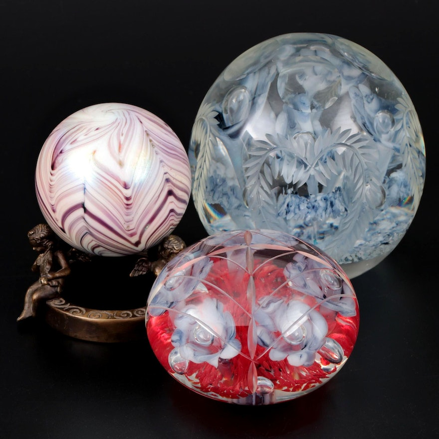 Joe Rice Art Glass Paperweights with Feathered Art Glass Paperweight and Stand