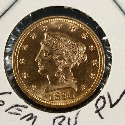 Low Mintage 1890 Liberty Head $2.50 Quarter Eagle Gold Coin