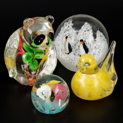 Animal and Floral Themed Art Glass Paperweights