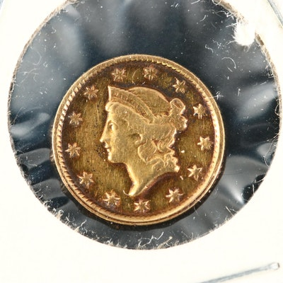 Key Date Low Mintage 1851-C Liberty Head $1 Gold Coin