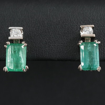 18K Gold 4.88 CTW Emerald and Diamond Earrings