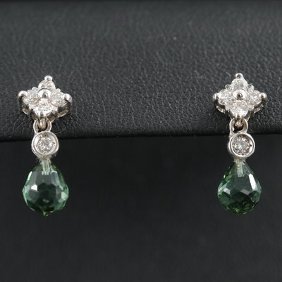 Gregg Ruth 18K White Gold Tourmaline and Diamond Drop Earrings