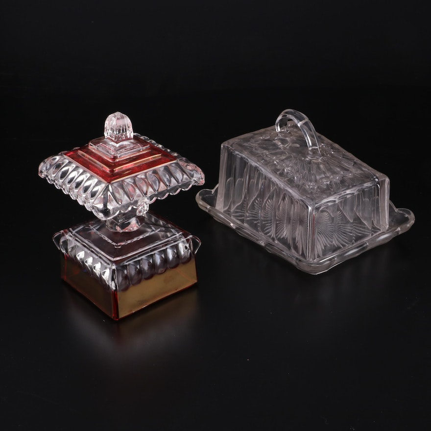 American Etched Glass Cheese Keeper with Lidded Compote