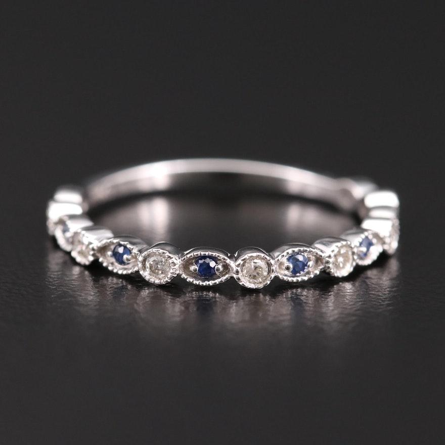 14K White Gold Diamond and Sapphire Band