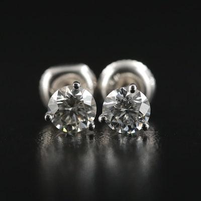 14K White Gold Martini Set 1.10 CTW Diamond Stud Earrings