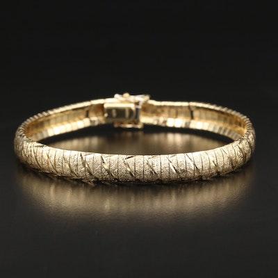 Textured 14K Omega Bracelet