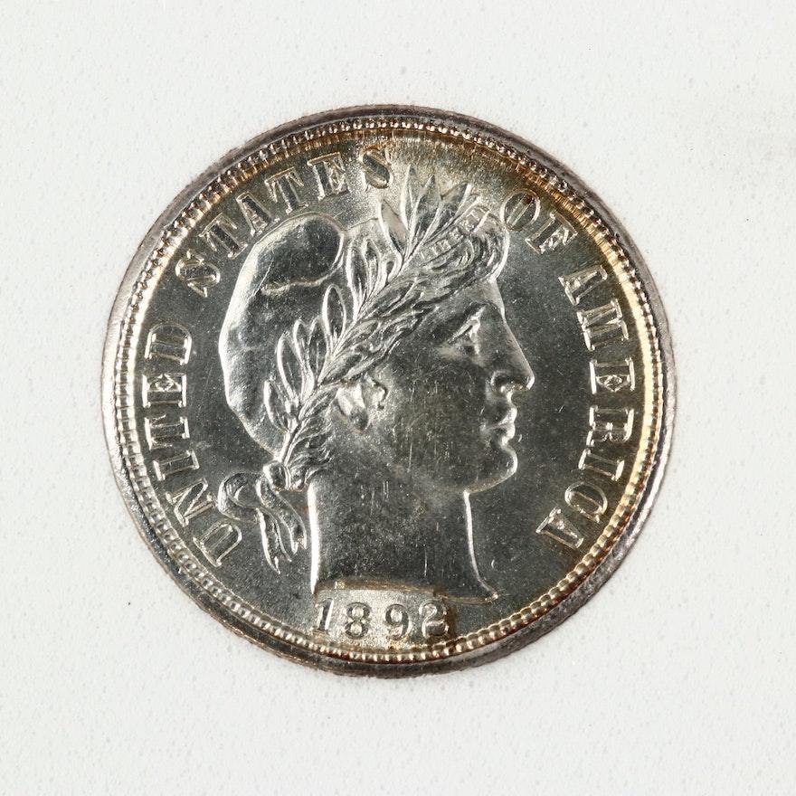 1892 Barber Silver Dime