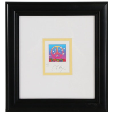 """Peter Max Stochastic Lithograph """"Peace with Doves"""""""