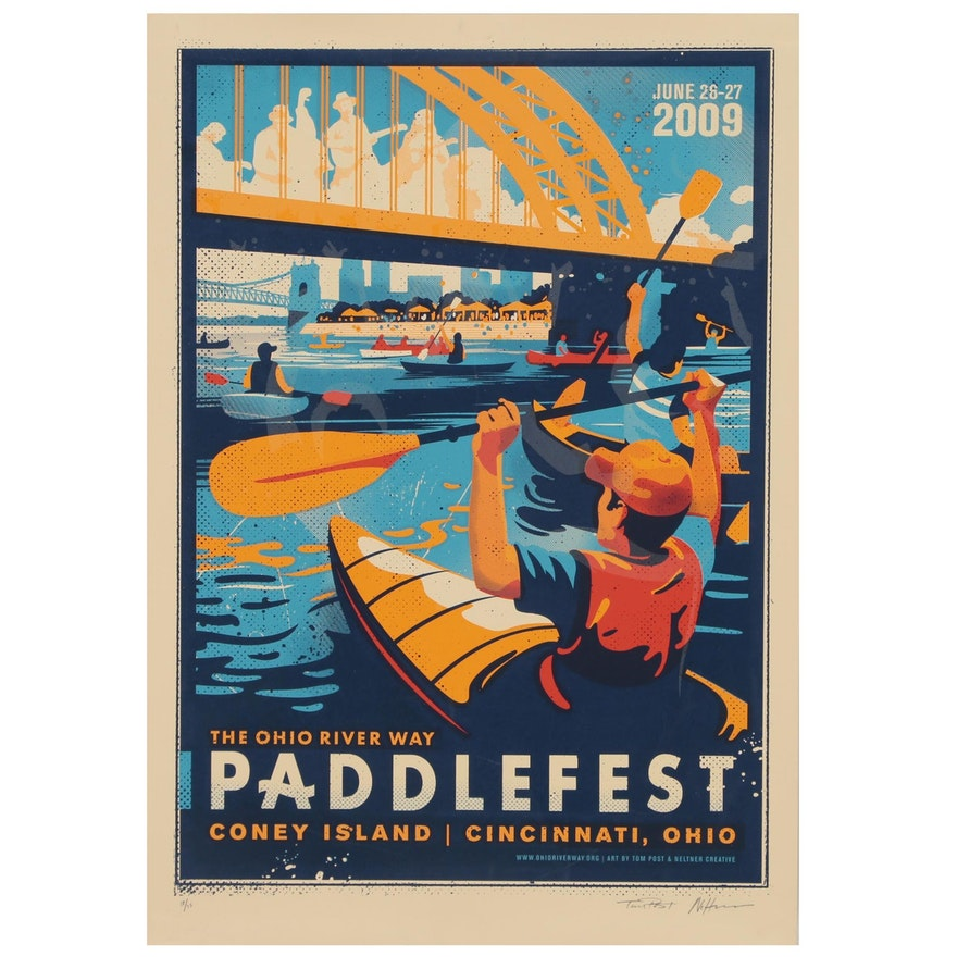 Tom Post and Keith Neltner Serigraph Poster for Paddlefest 2009 Cincinnati, Ohio