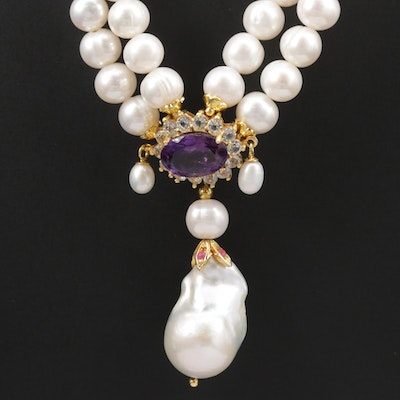 Sterling Silver Cultured Pearl, Amethyst, and Ruby Necklace
