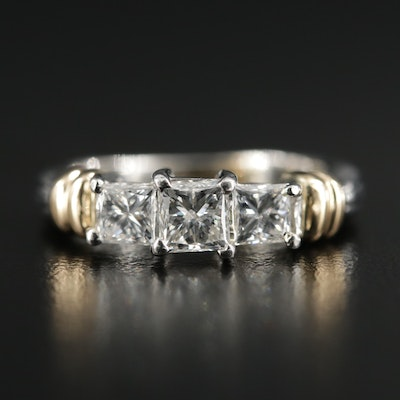 Platinum 1.20 CTW Diamond Ring with 14K Gold Accents
