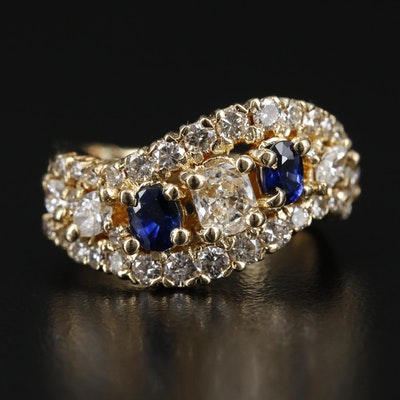18K Gold 1.34 CTW Diamond and Sapphire Ring