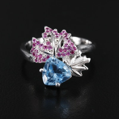 Sterling Silver Topaz and Synthetic Ruby Floral Ring