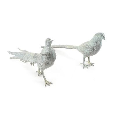 Pair of Patinated Metal Pheasants