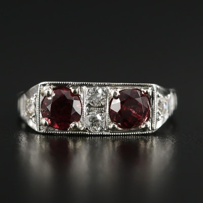 1930s 14K Garnet and Diamond Ring