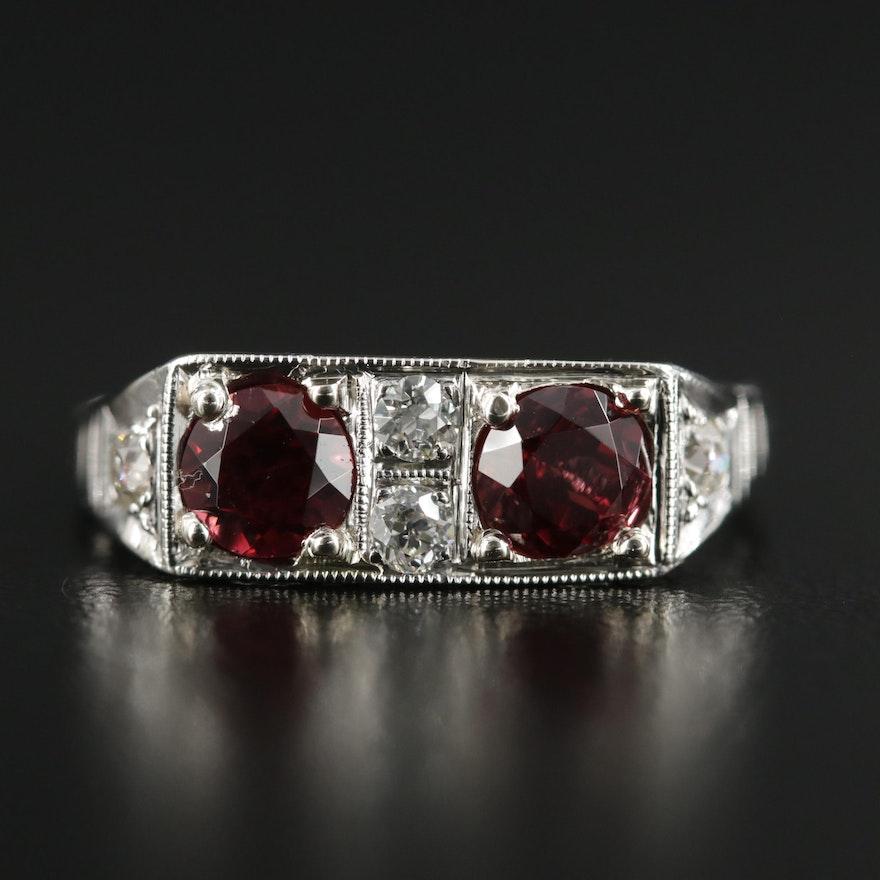 1930s 14K Garnet and Diamond Ring