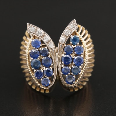 Retro 14K Yellow Gold Diamond and Sapphire Butterfly Ring
