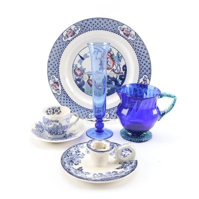 "W. R. Midwinter ""Moyen"" Plate with Other Blue and White Table Accessories"