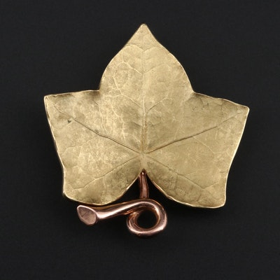 Cartier 18K Gold Leaf Brooch with 14K Rose Gold Accent