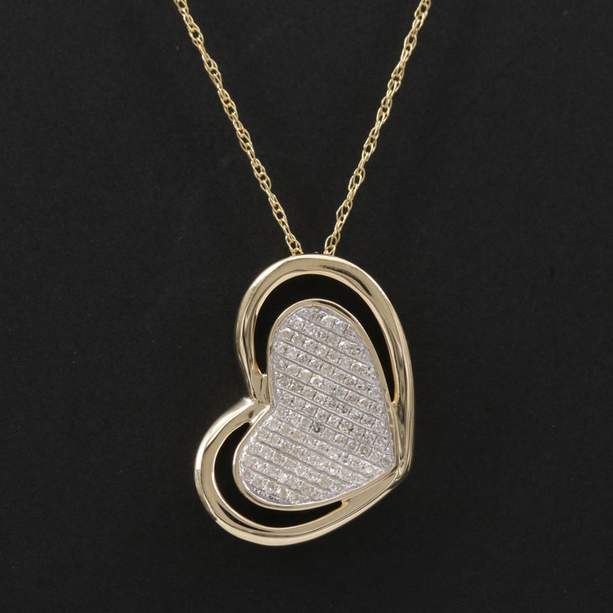 14K Gold Diamond Heart Pendant Necklace