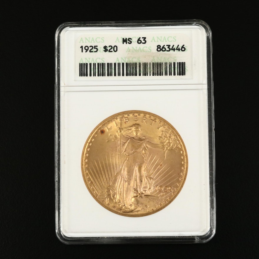 ANACS Graded MS63 1925 St. Gaudens $20 Gold Coin
