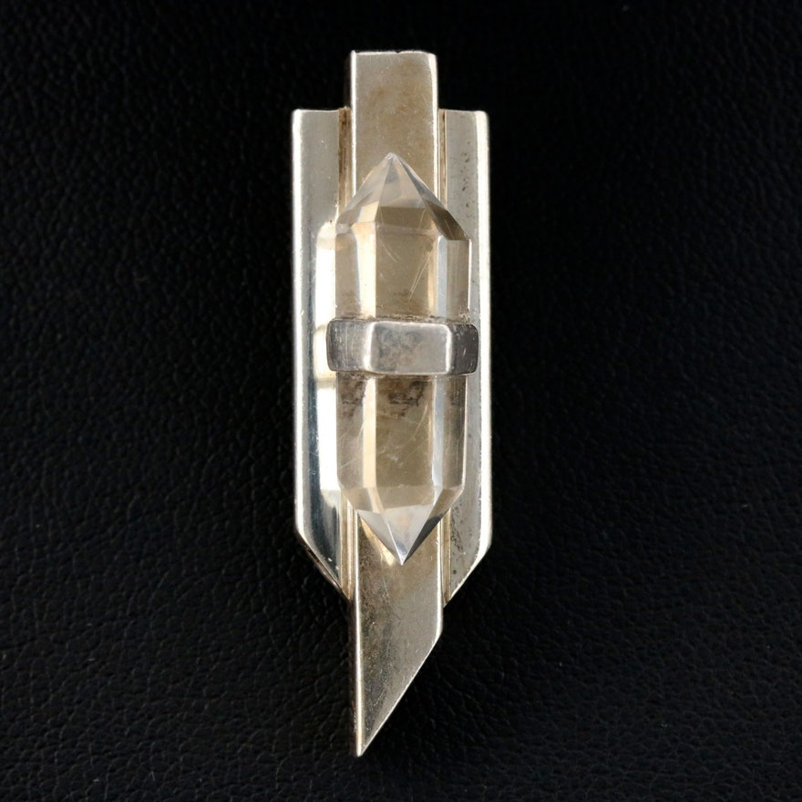 Contemporary Sterling Rock Quartz Crystal Pendant