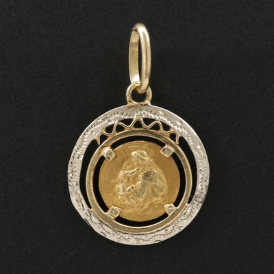 18K White and Yellow Gold St. Anthony of Padua Pendant