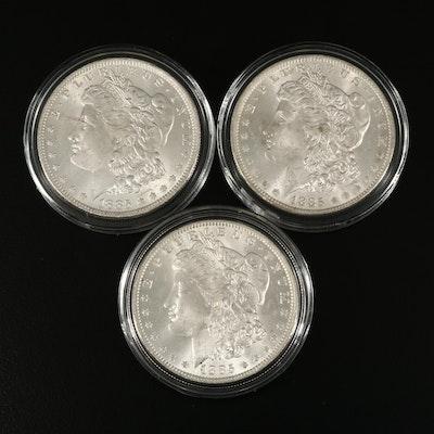 Three 1885-O Morgan Silver Dollars