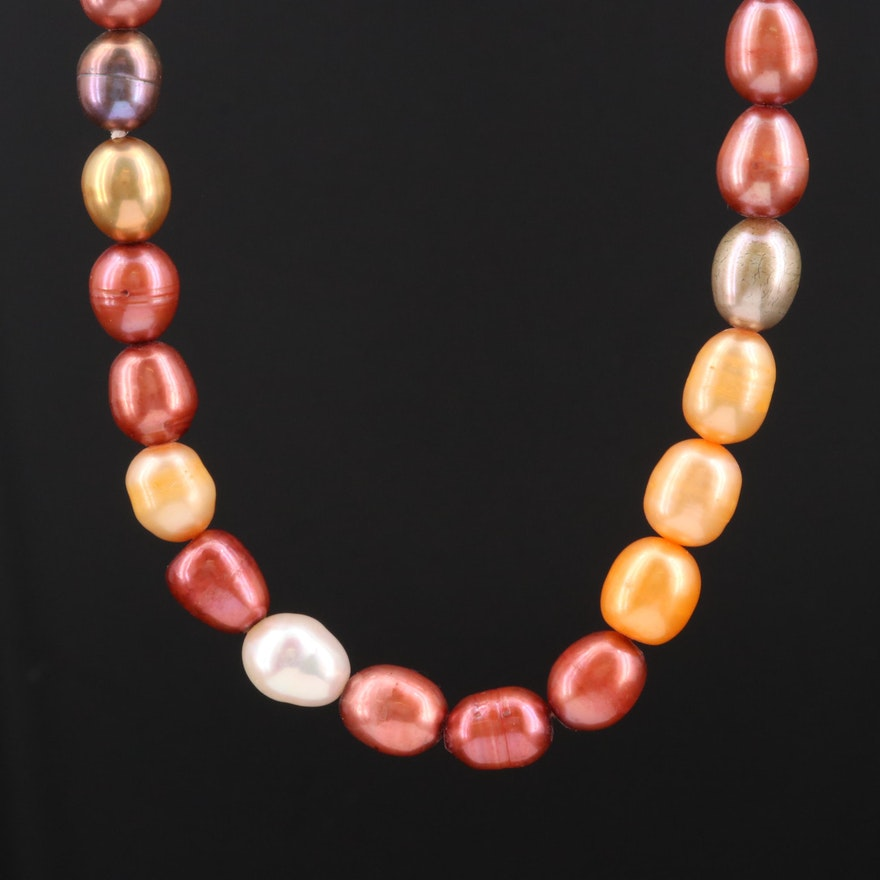 Single Strand Pearl Necklace with 14K Gold Clasp