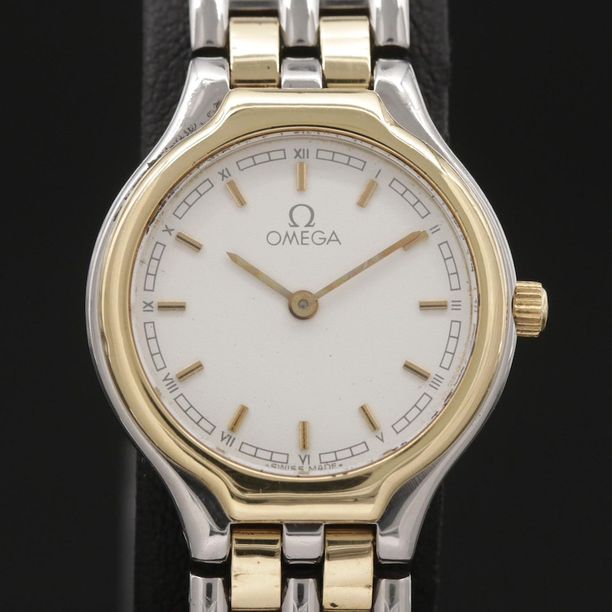 Omega DeVille 18K Gold and Stainless Steel Quartz Wristwatch