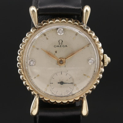 1944 Omega 14K Yellow Gold and Diamond Stem Wind Wristwatch, Vintage