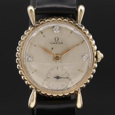 1944 Omega 14K Yellow Gold and Diamond Stem Wind Wristwatch, Vintage