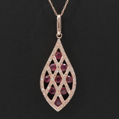 14K Rose Gold Diamond and Ruby Pendant Necklace