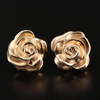 14K Yellow Gold Flower Button Earrings