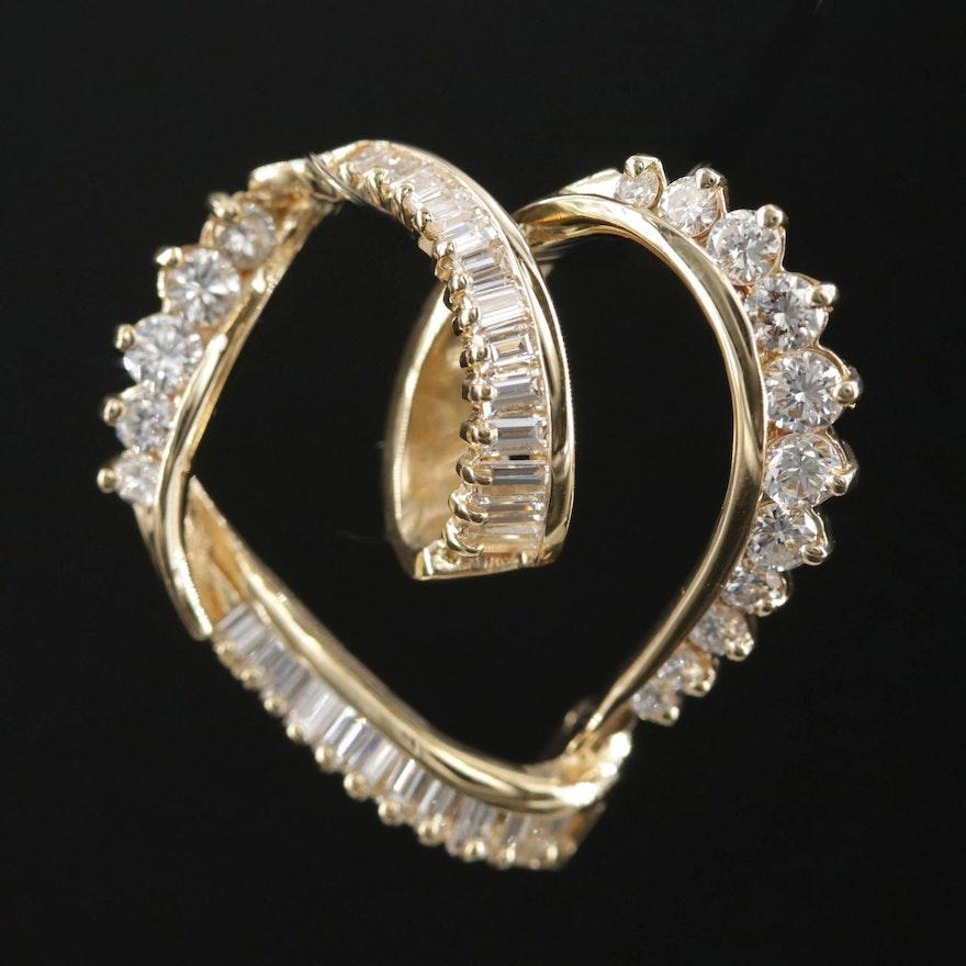 18K White Gold 1.00 CTW Diamond Heart Pendant