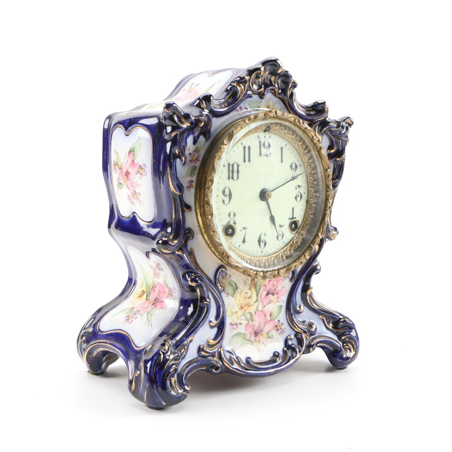 Ansonia Tacoma Porcelain Mantel Clock with Hand-Painted Floral Motif