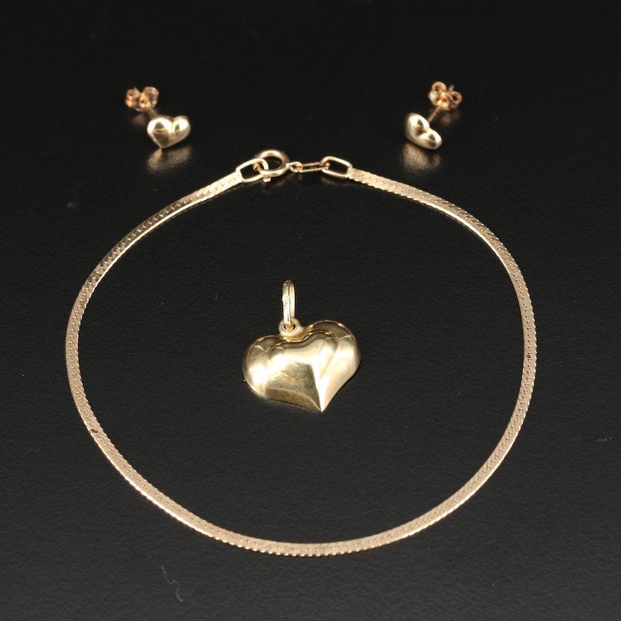 14K Childs Earrings, Half Puff Heart Charm and Herringbone Bracelet