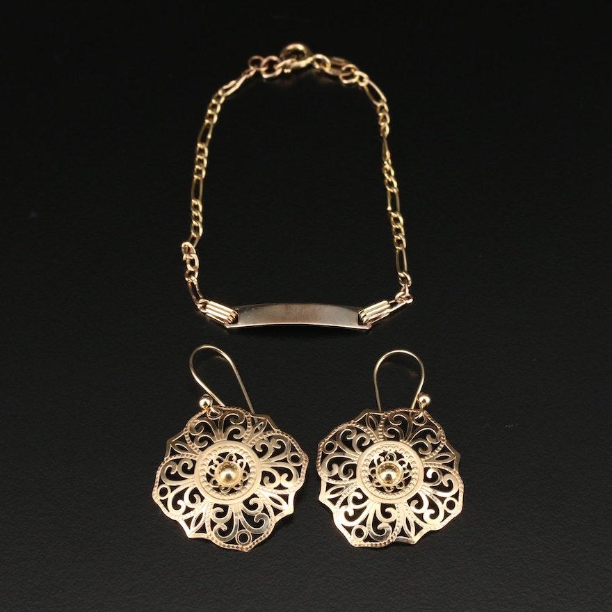 14K Yellow Gold Filigree Dangle Earrings and 10K Baby ID Bracelet