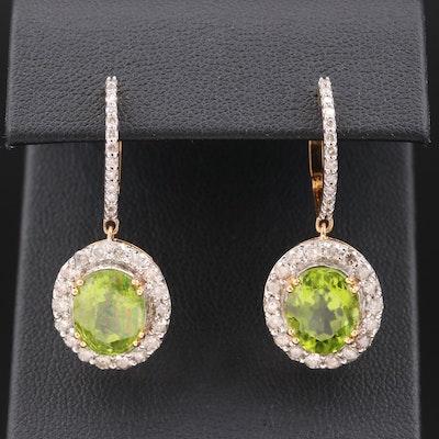 14K Peridot and 1.52 CTW Diamond Drop Earrings