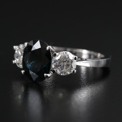 14K Gold 2.00 CT Sapphire and Diamond Ring