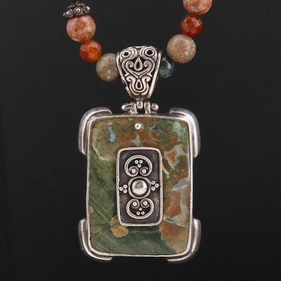 Sterling Silver Jasper, Agate and Serpentine Pendant Necklace